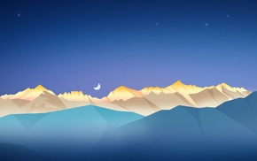 artwork, landscape, minimalism, mountains, night