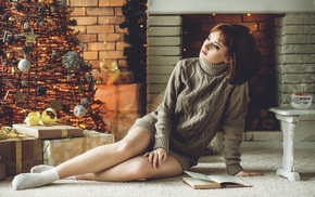 sitting, Christmas Tree, Christmas, legs, girl, sweater