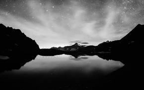 reflection, water, lake, monochrome, landscape, night