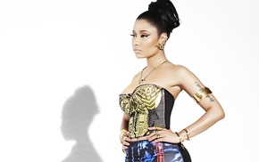 hands on hips, girl, Nicki Minaj, singer, white background
