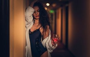 body lingerie, bathrobes, brunette, lace, closed eyes, hallway