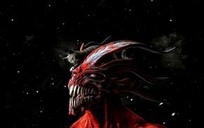 cat, Devil, red, horns, teeth, artwork