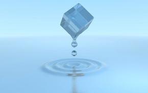 white, cube, blue, water, Ice Cube