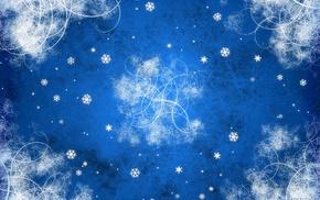 digital art, snowflakes, blue, artwork, abstract, Vladstudio