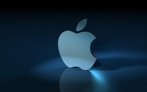 Apple Inc., blue background, reflection