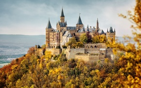 Burg Hohenzollern, forest, hills, nature, Germany, tower