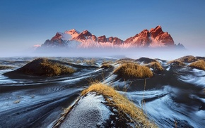 mountains, Vestrahorn, snow, morning, lava, grass