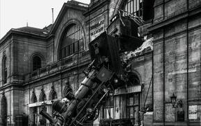portrait display, old photos, railway, Paris, train, steam locomotive