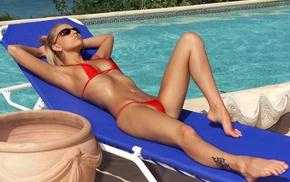 sunbathing, swimming pool, bikini, feet, blonde, barefoot
