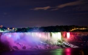 Niagara Falls, lake, lights, waterfall, river