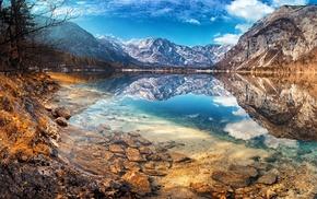 landscape, lake, Slovenia, fall, snowy peak, reflection