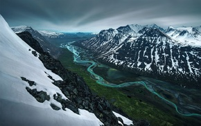 snow, mountains, nature, valley, landscape, river