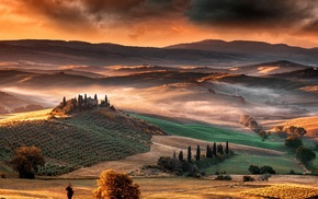 landscape, mountains, mist, valley, nature, Italy