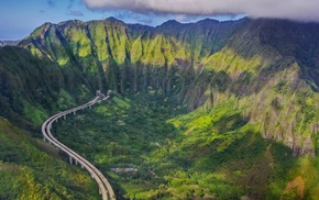 landscape, mountains, oahu, nature, forest, highway