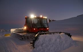 snow, night, snowplow