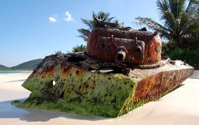 tank, rust, beach, sand, M4 Sherman