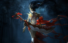 red, sword, girl, fantasy art, warrior