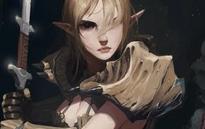 sword, blonde, The Elder Scrolls V Skyrim, fantasy art, elves
