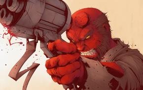 artwork, Dark Horse Comics, Hell Boy, gun, Hellboy, comic books