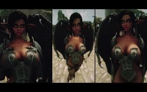boobs, The Elder Scrolls V Skyrim, lips, bikini armor, elves, hand on boob