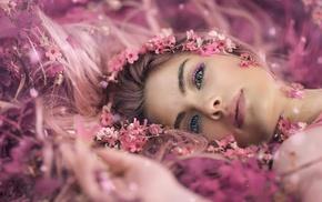 Alessandro Di Cicco, long hair, music, depth of field, closeup, flower petals