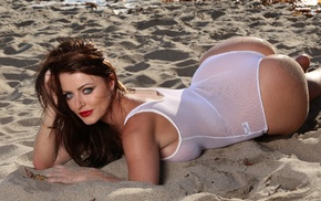 see, through clothing, Sophie Dee, pornstar, ass, sand