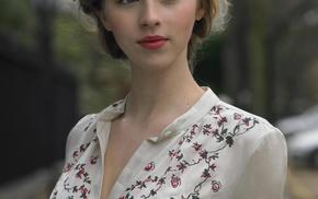 girl outdoors, portrait display, long hair, girl, model, blonde