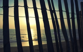 water, beach, photography, sunlight, fence, wood