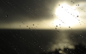 sunlight, photography, sea, water drops, water on glass, glass