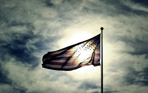 sunlight, photography, USA, flag