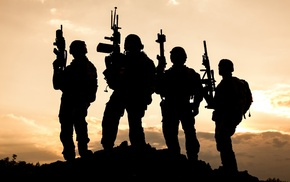 sunset, soldier, military, silhouette