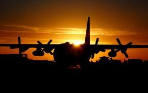 silhouette, aircraft, military aircraft, sunset, Lockheed C, 130 Hercules