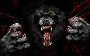 wolf, black background, digital art, blood, muzzles, fangs