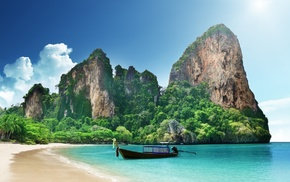 sea, clouds, nature, Thailand, sand, mountains