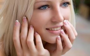 teeth, model, face, portrait, long nails, depth of field