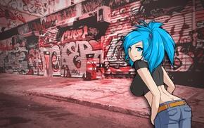 blue hair, anime girls, graffiti