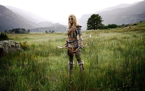 armor, long hair, outdoors, standing, pigtails, bow