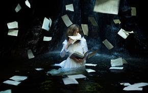 fantasy art, white dress, model, books, girl, pages