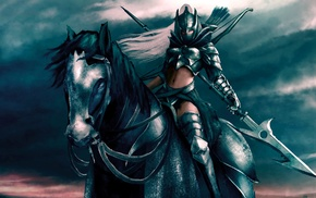 horse, fantasy art, warrior, artwork