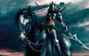 horse, fantasy art, warrior, artwork
