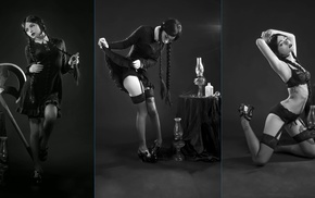 Katrina Wilkinson, monochrome, collage, model, girl