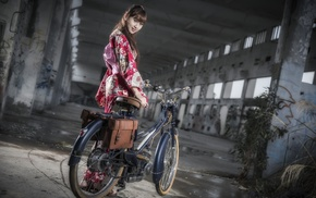 girl with bicycles, model, girl, Asian, bicycle