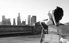monochrome, girl, model, rooftops, high heels