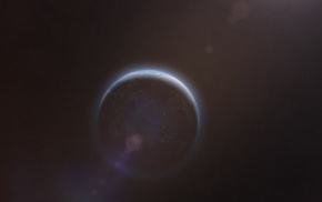 planet, lens flare, space