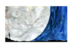 Cosmos A Spacetime Odyssey, illustration, space, watercolor, reca, Moon
