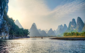 China, grass, landscape, trees, lake