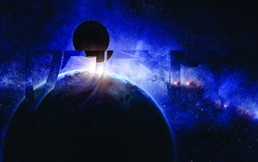 CMYK, space, Djent, planet, stars