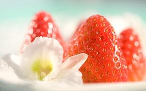 strawberries, food, photography, macro, flowers, fruit