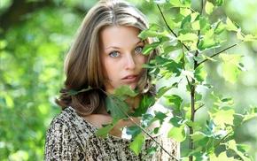 MPL Studios, branch, blue eyes, leaves, girl, face