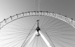 ferris wheel, monochrome, photography